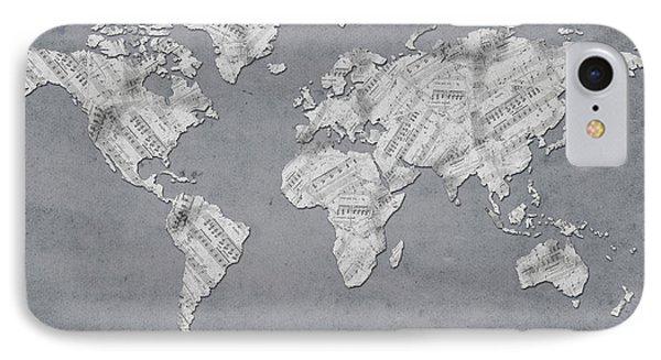 IPhone Case featuring the digital art World Map Music 11 by Bekim Art