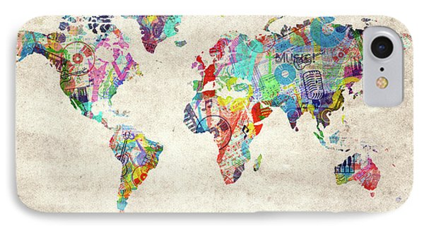 IPhone Case featuring the digital art World Map Music 12 by Bekim Art