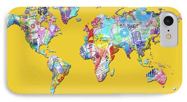 IPhone Case featuring the digital art World Map Music 13 by Bekim Art
