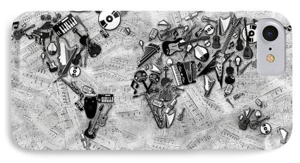 IPhone Case featuring the digital art World Map Music 2 by Bekim Art