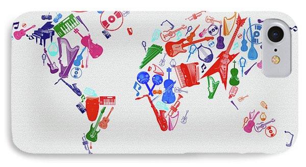 IPhone Case featuring the digital art World Map Music 3 by Bekim Art