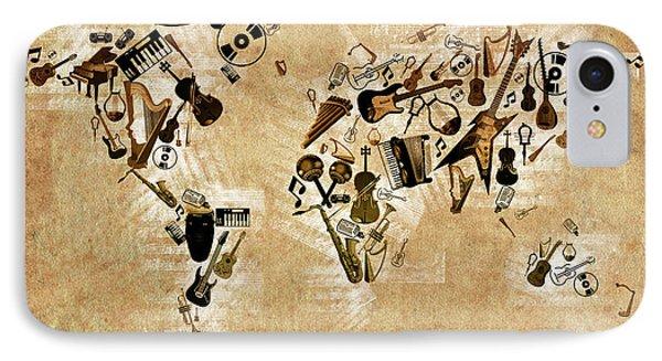 IPhone Case featuring the digital art World Map Music 4 by Bekim Art