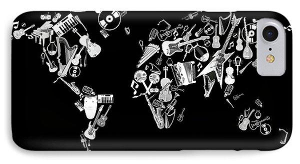 IPhone Case featuring the digital art World Map Music 5 by Bekim Art