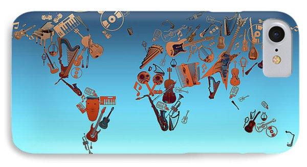 IPhone Case featuring the digital art World Map Music 6 by Bekim Art