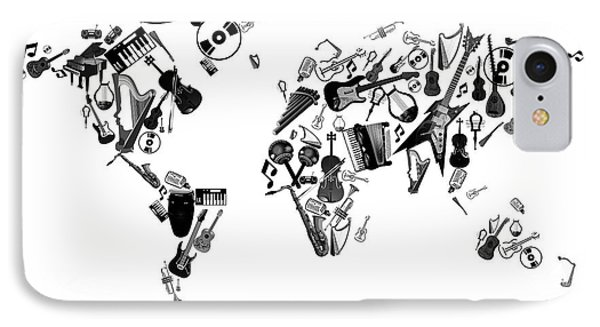 IPhone Case featuring the digital art World Map Music 7 by Bekim Art