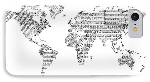 IPhone Case featuring the digital art World Map Music 8 by Bekim Art