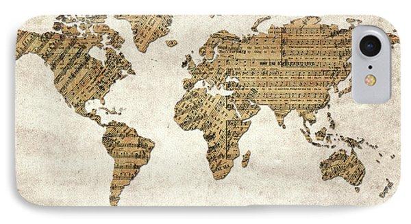 IPhone Case featuring the digital art World Map Music 9 by Bekim Art