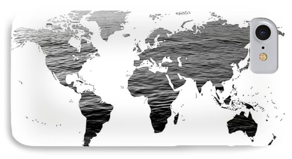 World Map - Ocean Texture - Black And White IPhone Case by Marianna Mills