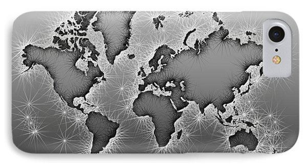 World Map Opala In Black And White IPhone Case by Eleven Corners