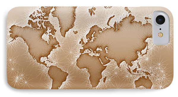 World Map Opala In Brown And White IPhone Case by Eleven Corners