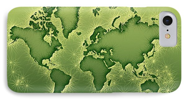 World Map Opala In Green And Yellow IPhone Case by Eleven Corners