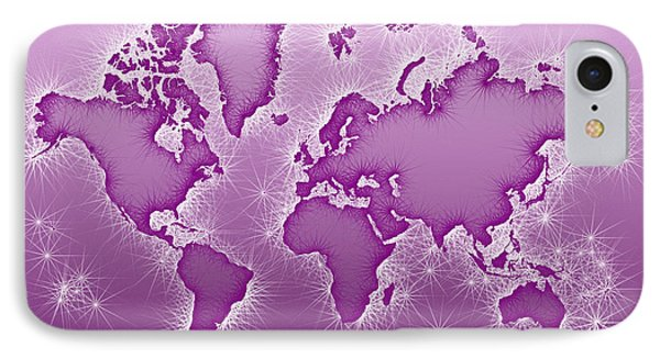 World Map Opala In Purple And White IPhone Case by Eleven Corners