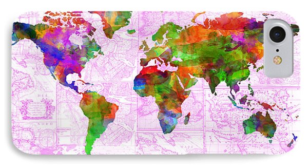 World Map Watercolor Vintage IPhone Case