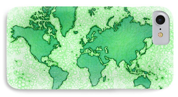 World Map You Are Here Airy In Green And White IPhone Case by Eleven Corners
