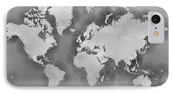 World Map Zona In Black And White IPhone Case by Eleven Corners