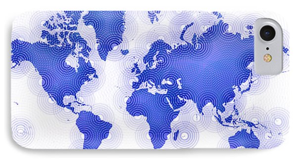 World Map Zona In Blue And White IPhone Case