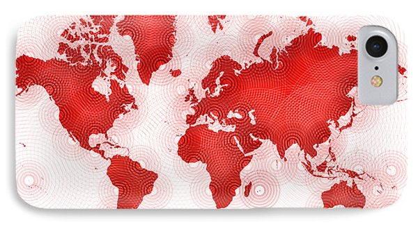 World Map Zona In Red And White IPhone Case by Eleven Corners