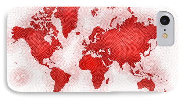 World Map Zona You Are Here In Red And White IPhone Case by Eleven Corners