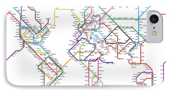 World Metro Tube Map IPhone Case by Michael Tompsett