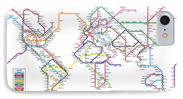 World Metro Tube Subway Map IPhone Case by Michael Tompsett