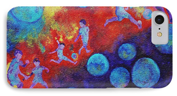 IPhone 7 Case featuring the painting World Soccer Dreams by Claire Bull
