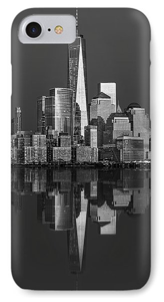 World Trade Center Reflections Bw IPhone Case by Susan Candelario