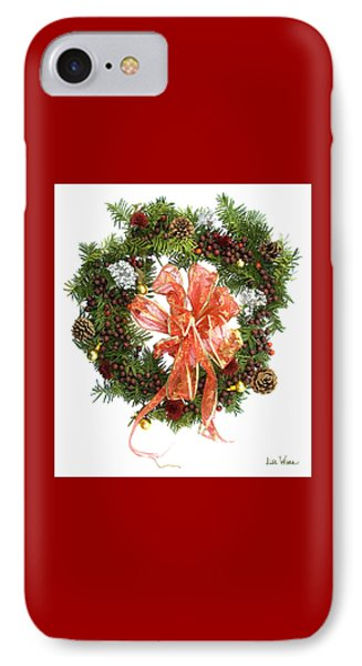 Wreath With Bow IPhone Case by Lise Winne