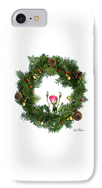 IPhone Case featuring the digital art Wreath With Rose by Lise Winne