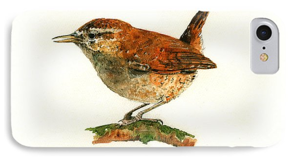 Wren Bird Art Painting IPhone Case by Juan  Bosco