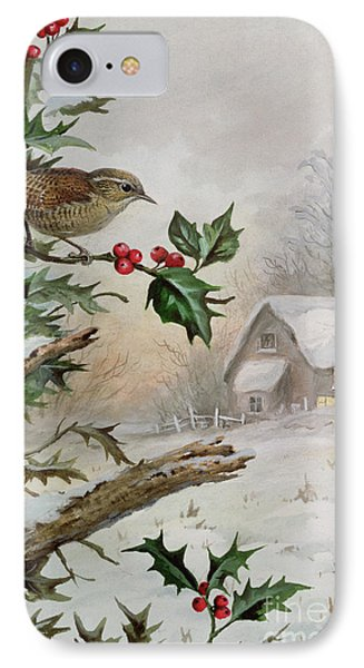 Wren In Hollybush By A Cottage IPhone 7 Case by Carl Donner
