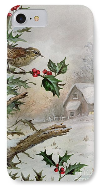 Wren In Hollybush By A Cottage IPhone Case by Carl Donner
