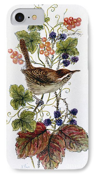 Wren On A Spray Of Berries IPhone Case by Nell Hill