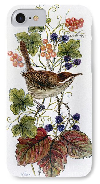 Wren On A Spray Of Berries IPhone 7 Case by Nell Hill