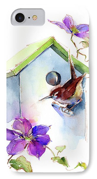 Wren With Birdhouse And Clematis IPhone 7 Case