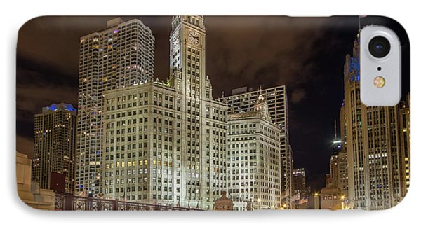 Wrigley Building At Night IPhone Case by Mike Burgquist