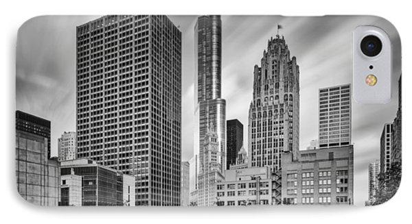 Wrigley Equitable Buildings - Trump Chicago Tribune Tower - Black White - Chicago Illinois IPhone Case