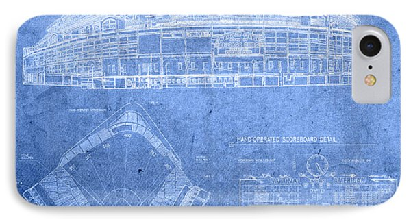 Wrigley Field Chicago Illinois Baseball Stadium Blueprints IPhone 7 Case by Design Turnpike