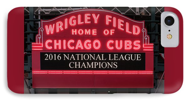 Wrigley Field Marquee Cubs Champs 2016 Front IPhone Case by Steve Gadomski