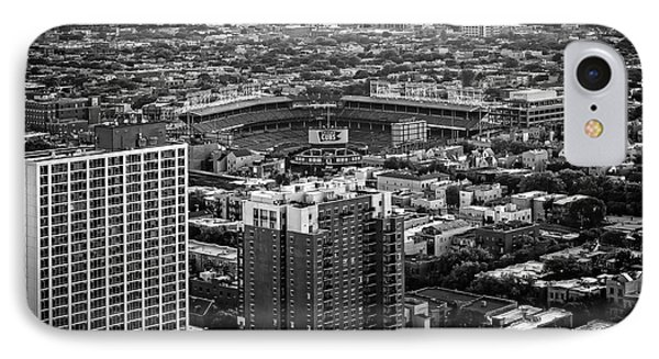 Wrigley Field Park Place Towers Day Bw Dsc4575 IPhone Case by Raymond Kunst