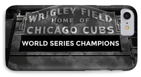 Wrigley Field Sign -- Bw IPhone Case by Stephen Stookey