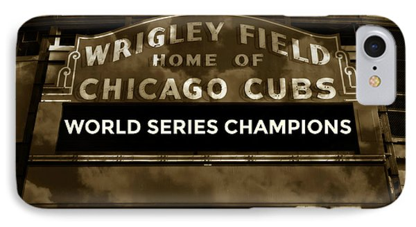 Wrigley Field iPhone 7 Case - Wrigley Field Sign - Vintage by Stephen Stookey