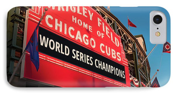 Wrigley Field iPhone 7 Case - Wrigley Field World Series Marquee Angle by Steve Gadomski