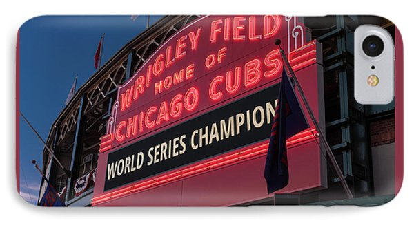 Wrigley Field iPhone 7 Case - Wrigley Field World Series Marquee by Steve Gadomski