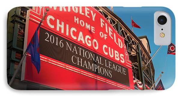 Wrigley Field iPhone 7 Case - Wrigley Field Marquee Angle by Steve Gadomski