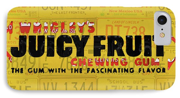 Wrigleys Juicy Fruit Gum Recycled Vintage Illinois License Plate Art IPhone Case by Design Turnpike