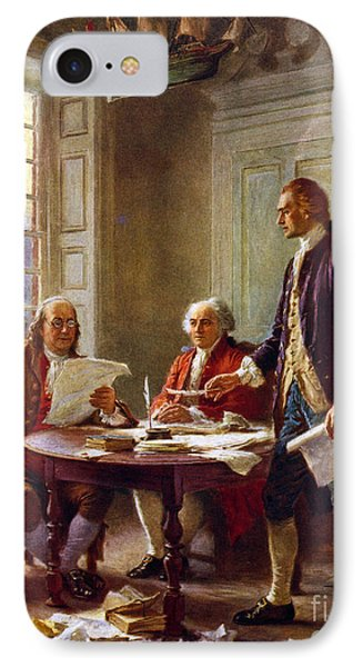 Writing The Declaration Of Independence, 1776, IPhone 7 Case by Leon Gerome Ferris