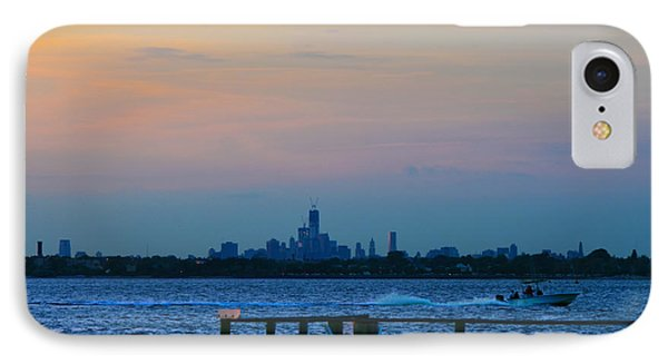 Wtc Over Jamaica Bay From Rockaway Point Pier IPhone Case by Maureen E Ritter