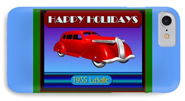 IPhone Case featuring the digital art Wyandotte Lasalle Happy Holidays by Stuart Swartz