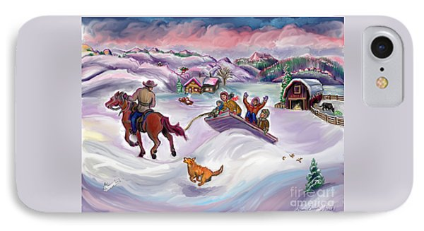 Wyoming Ranch Fun In The Snow IPhone Case