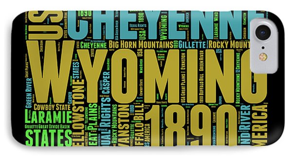 Wyoming Word Cloud Map 1 IPhone Case by Naxart Studio